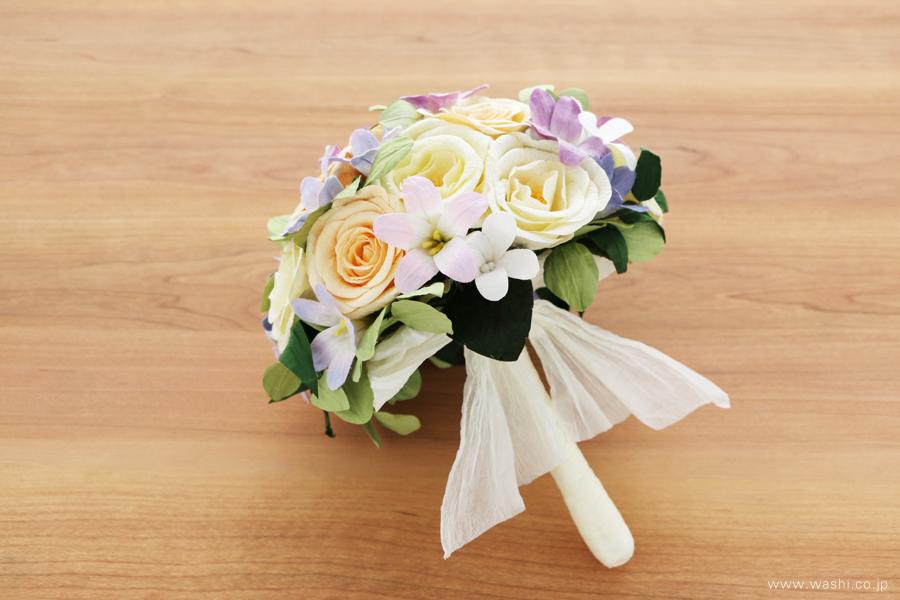 結婚記念日・紙婚式 パステルカラーの和紙花オーダーメイドプレゼント(持ち手)
