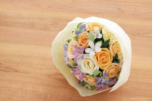 結婚記念日・紙婚式 パステルカラーの和紙花オーダーメイドプレゼント(ラッピング)