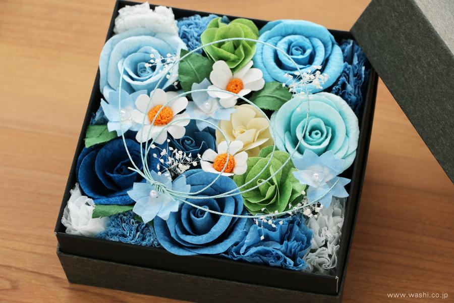 開業・開店祝いの和紙の花フラワーボックス(アップ)