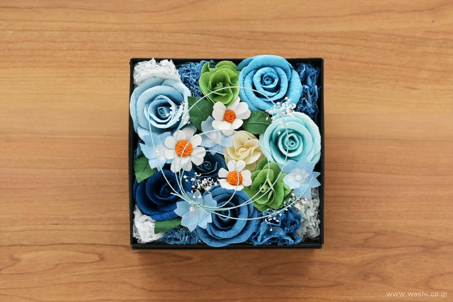 開業・開店祝いの和紙の花フラワーボックス(真上)