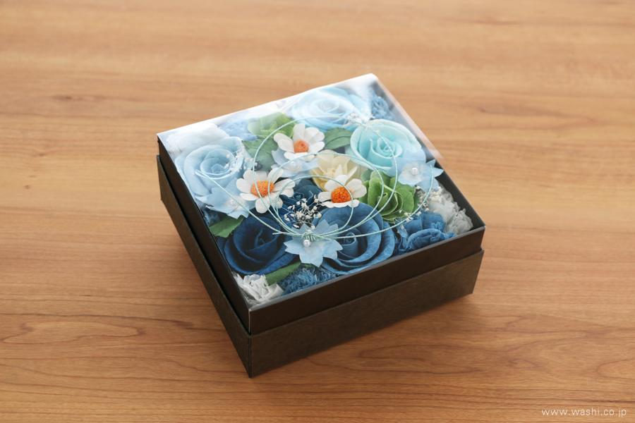 開業・開店祝いの和紙の花フラワーボックス(埃を気にせず飾ることが出来るカバー付き)