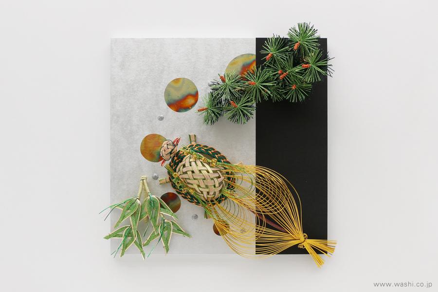 現代の生活空間にも合わせやすい結納品リメイクパネル 3種(角タイプ 松竹・亀)