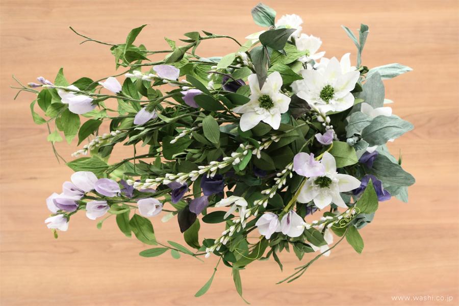 結婚一周年記念日の紙婚式オーダーメイドプレゼント 動きのある葉っぱが美しい和紙製の花束(真上)