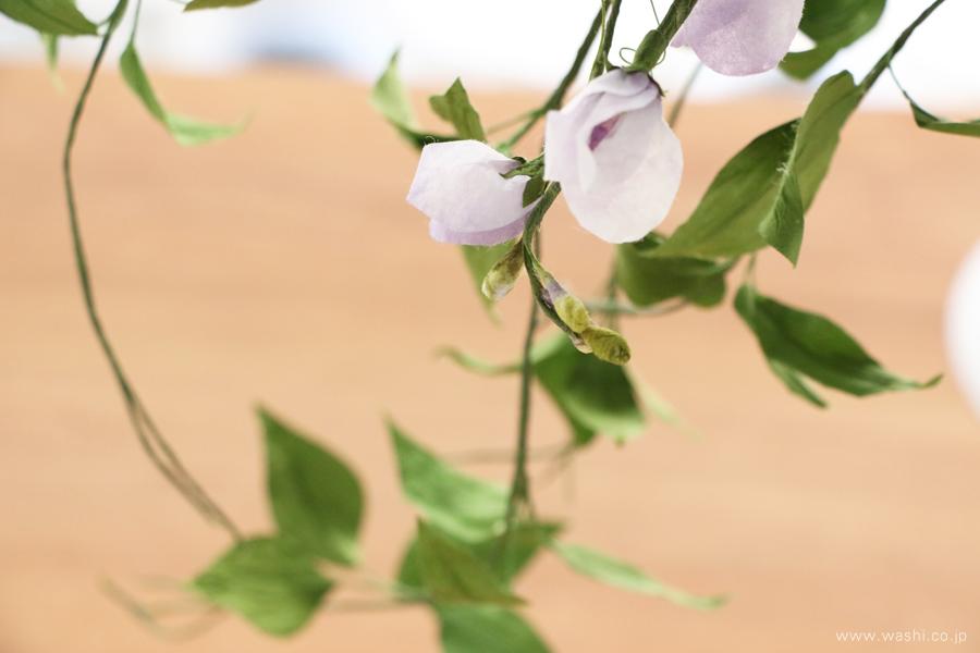 結婚一周年記念日の紙婚式オーダーメイドプレゼント 動きのある葉っぱが美しい和紙製の花束(つぼみ)