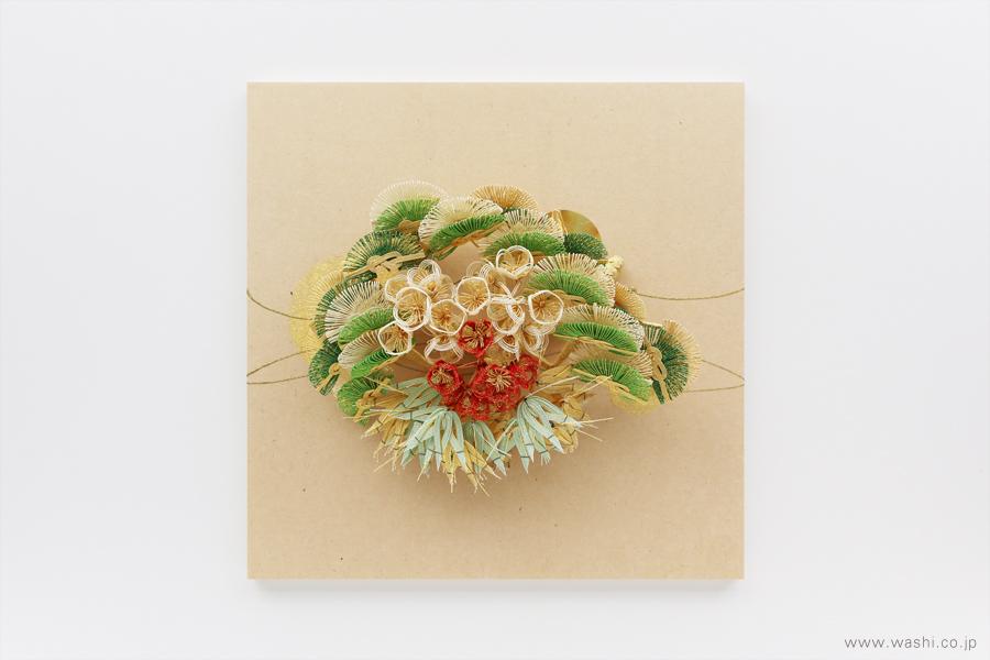 存在感のある結納飾りをリメイクして3種類の角型アートパネルに(松竹梅)
