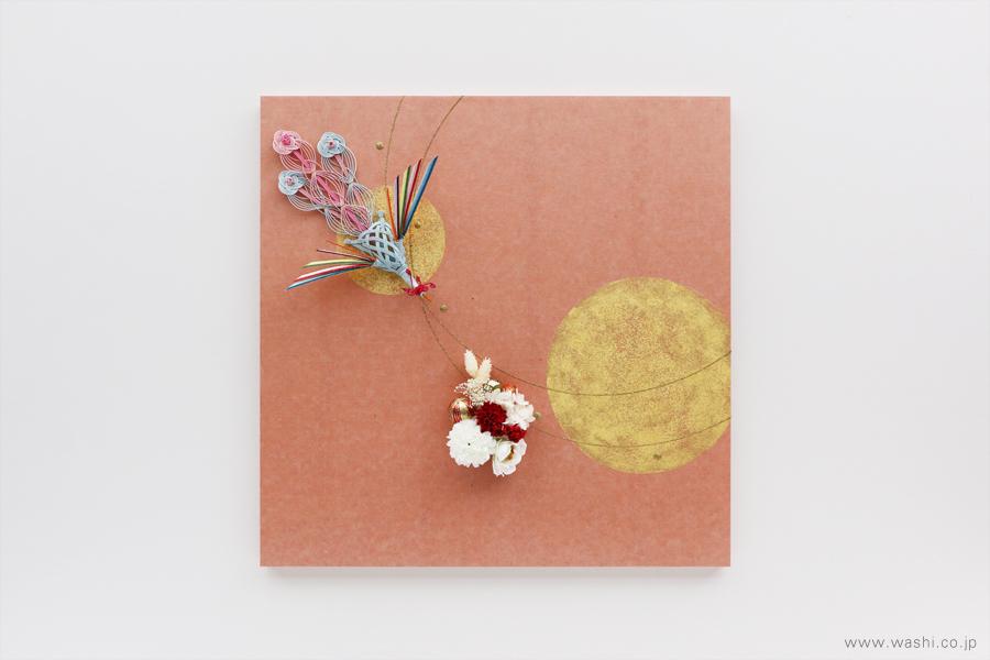 存在感のある結納飾りをリメイクして3種類の角型アートパネルに(鳳凰、花飾り)