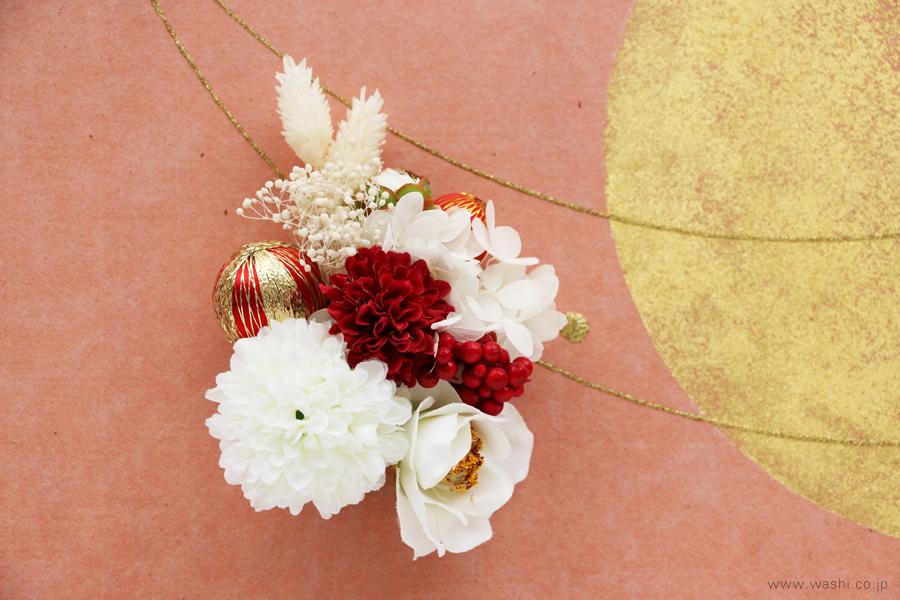 存在感のある結納飾りをリメイクして3種類の角型アートパネルに(ピンク、花飾りアップ)